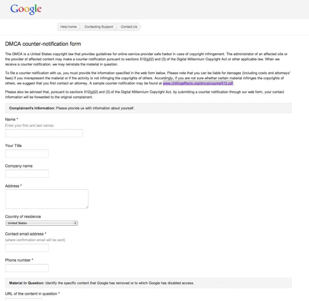 DMCA Counter Notification Form From Google