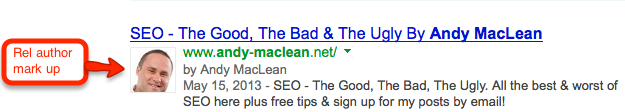 Rel author markup in search results