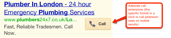 Adwords call extension (mobile click to call version)