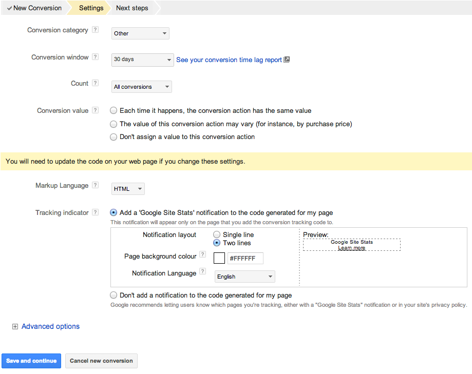 adwords conversion settings