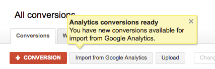 import conversions from analytics